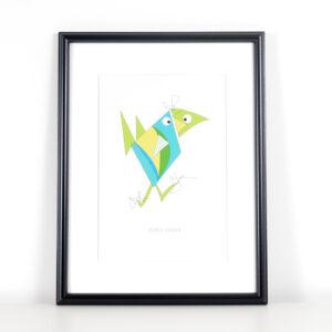 Würtz Design Plakat Grøn fugl 2